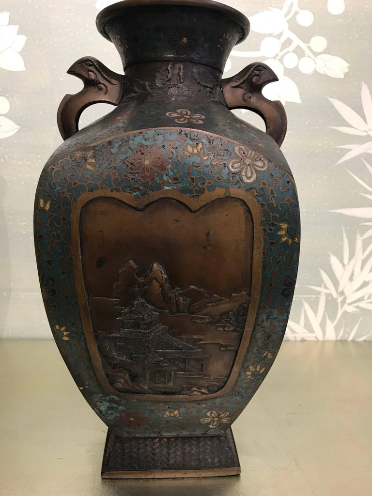 Japanese Pair of Cloisonné Vases For Sale