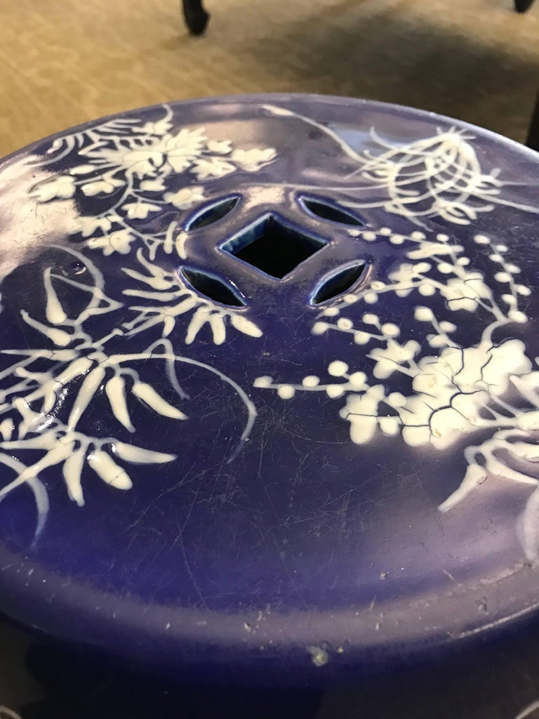 Porcelain Chinese Blue and White Garden Seat For Sale