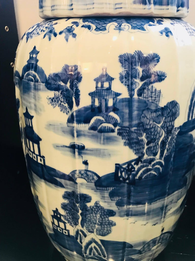 Chinese Pair of Large Covered Jars For Sale