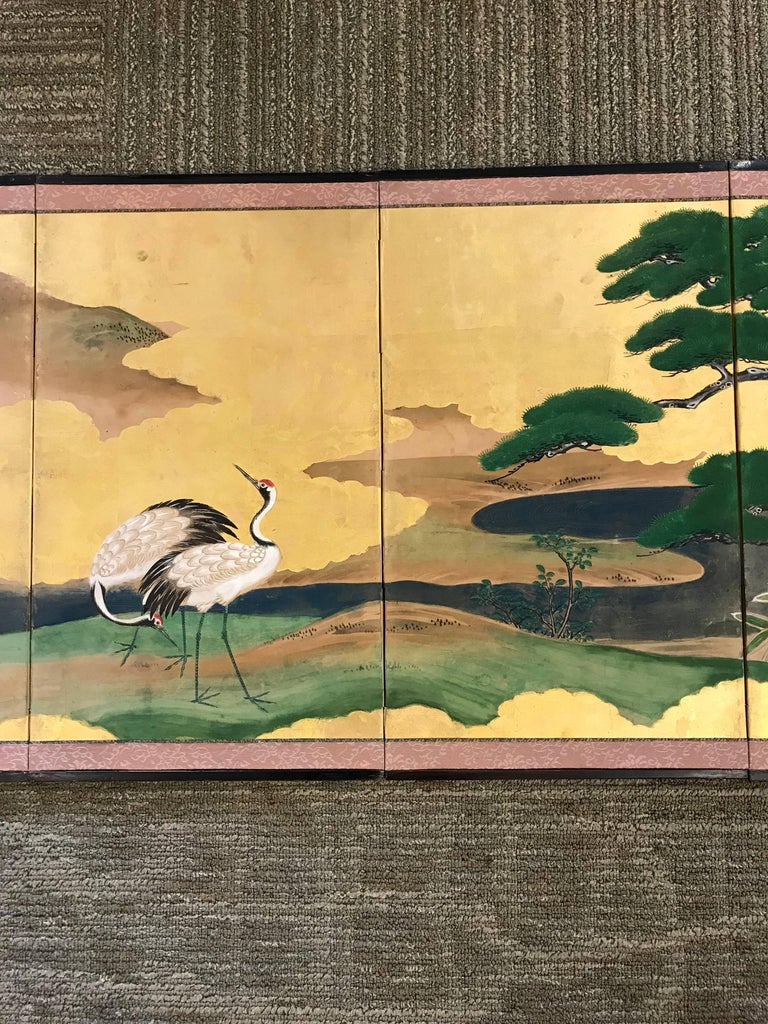 Hand-Painted Gold Leaf Japanese Screen For Sale