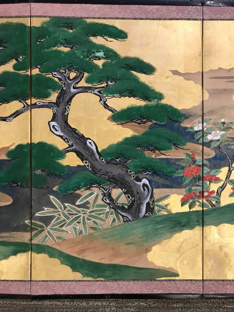 Gold Leaf Japanese Screen In Good Condition For Sale In New York, NY