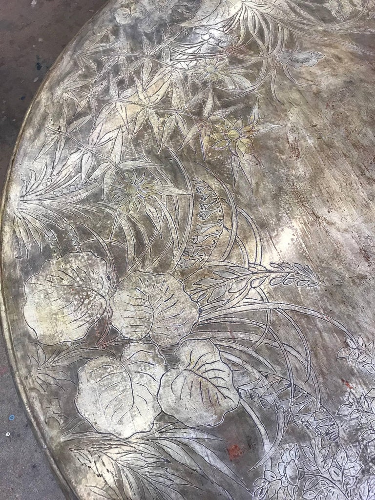 Hand-Carved Round Max Kuehne Coffee Table For Sale