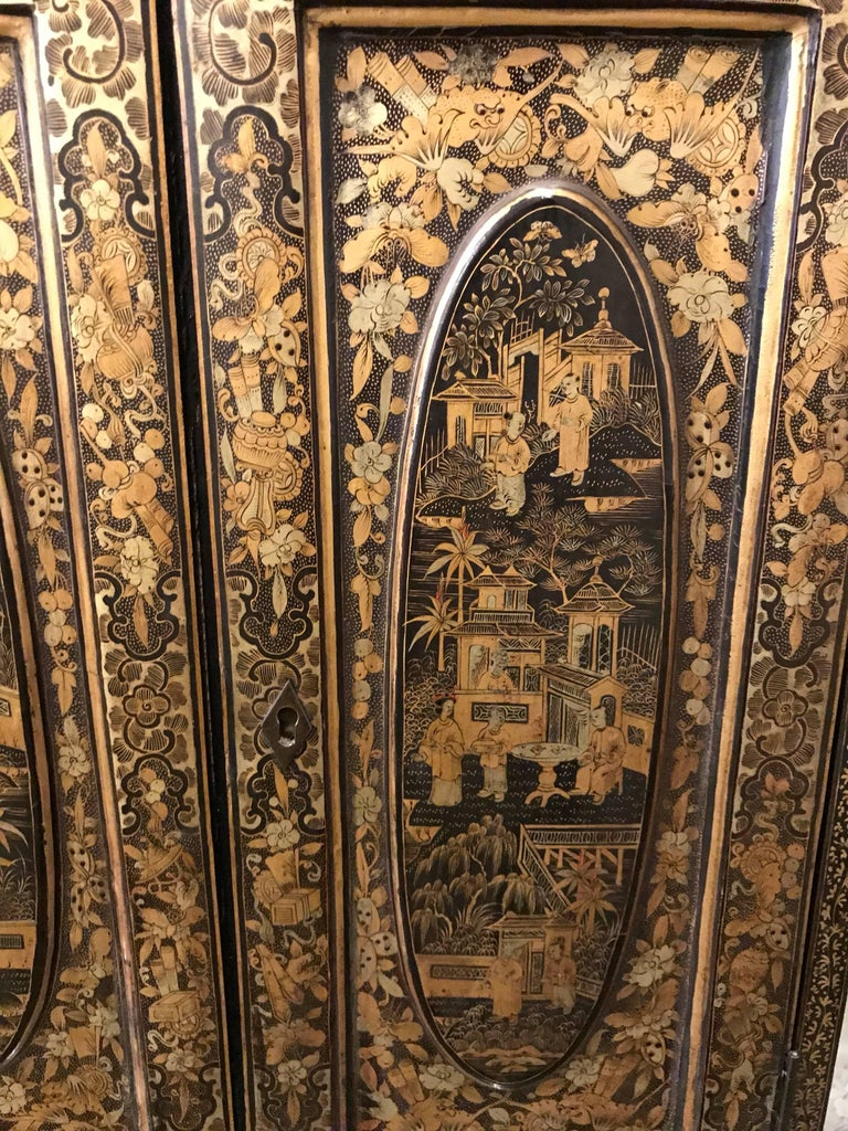 Hand-Painted Black and Gold Lacquer Chinese Cabinet For Sale