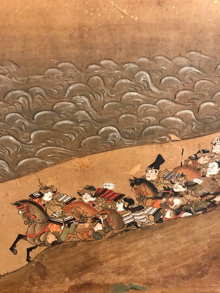 A six panel Japanese screen with separate finely painted and very detailed scenes of samurai in battle.