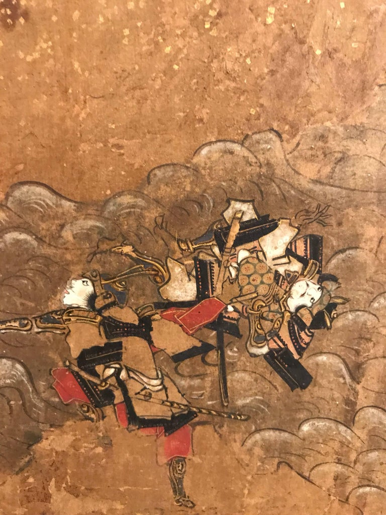 Hand-Painted Six-Fold Japanese Screen with Samurai For Sale