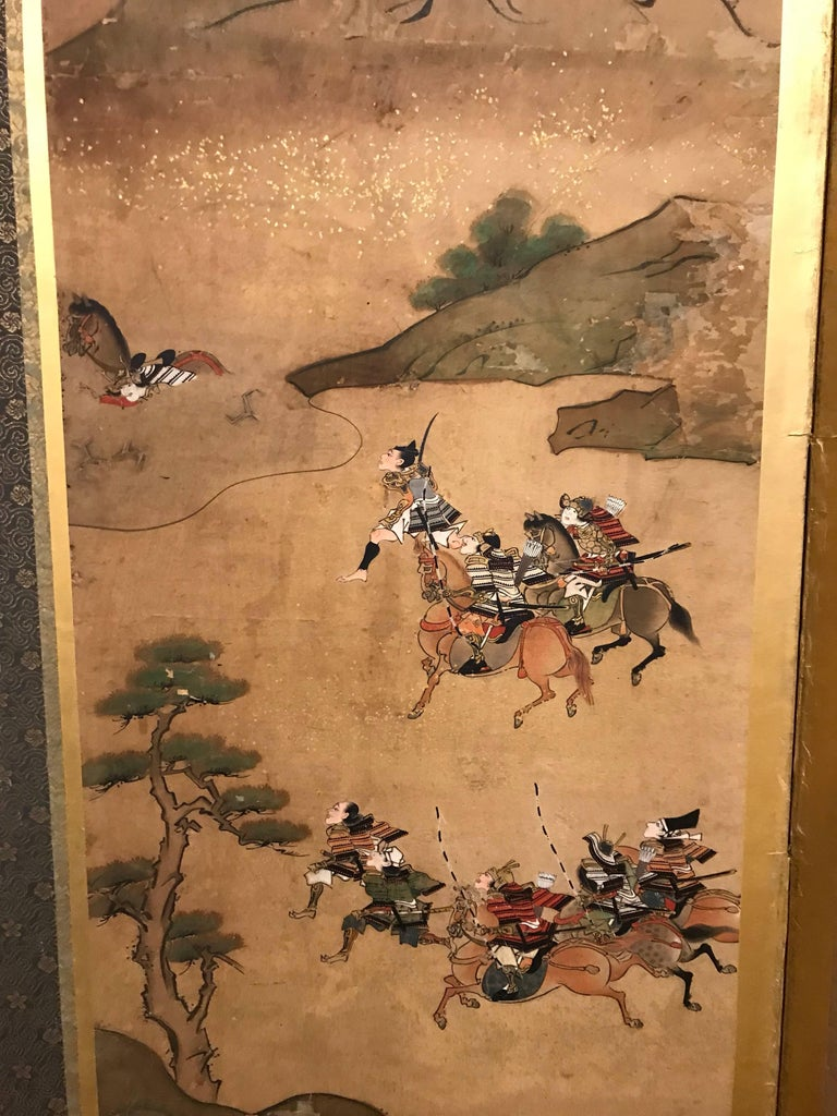 19th Century Six-Fold Japanese Screen with Samurai For Sale