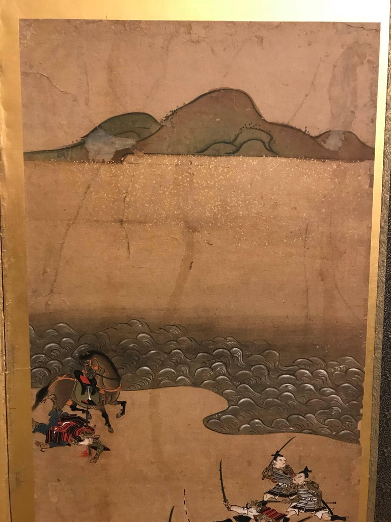 Gold Leaf Six-Fold Japanese Screen with Samurai For Sale