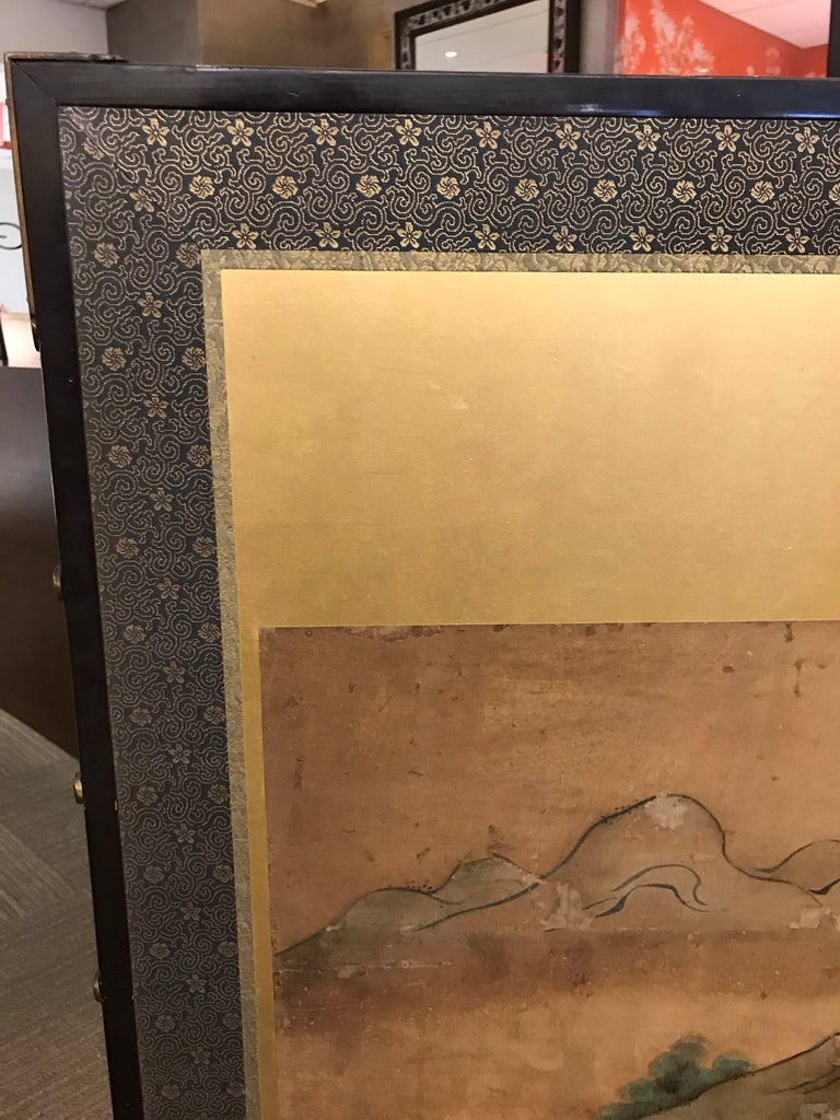 Six-Fold Japanese Screen with Samurai For Sale 1