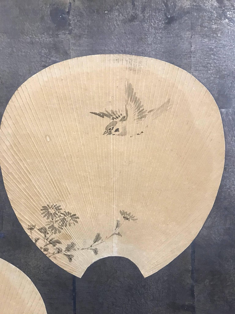 Hand-Painted Two-Panel Japanese Screen with Scattered Fans For Sale