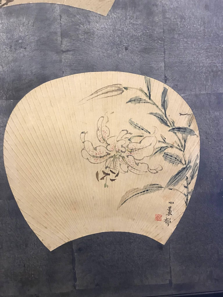 Two-Panel Japanese Screen with Scattered Fans For Sale 1