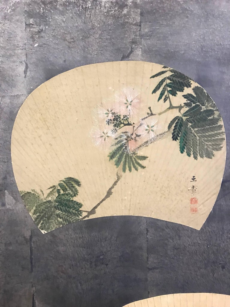 Two-Panel Japanese Screen with Scattered Fans For Sale 3