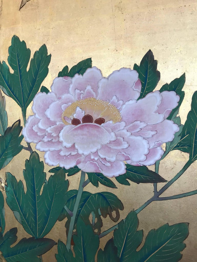 Hand-Painted Japanese Gold Leaf Screen For Sale