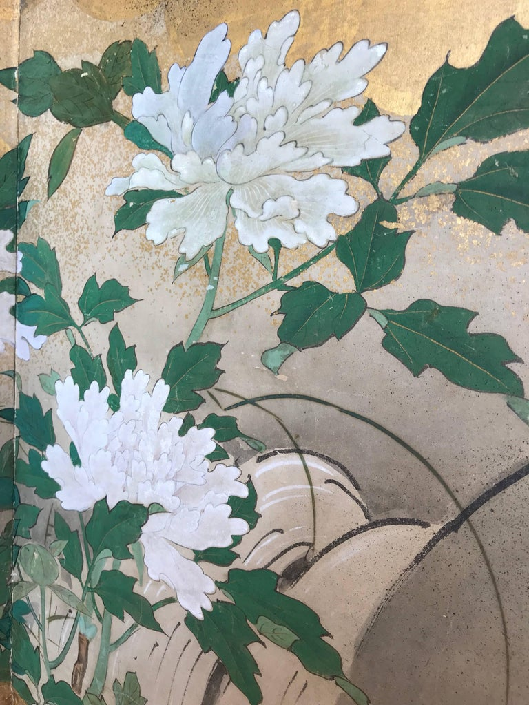 Hand-Painted Six-Panel Japanese Screen For Sale