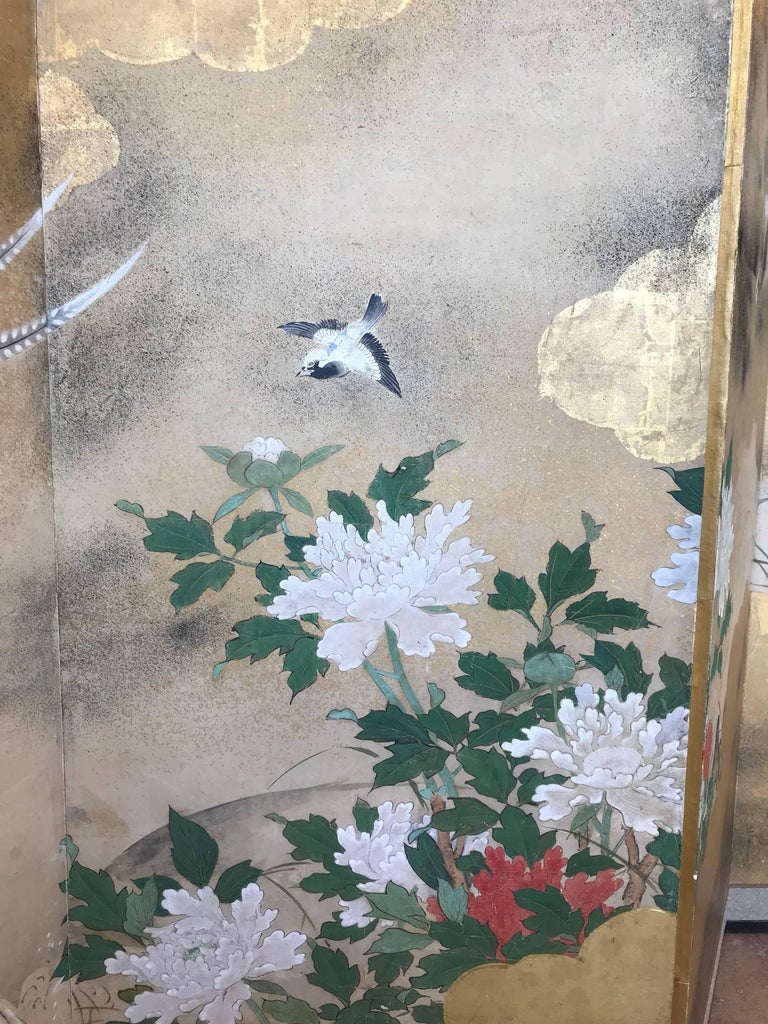 Gold Leaf Six-Panel Japanese Screen For Sale