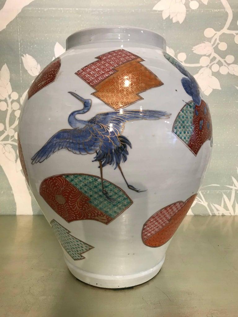 Hand-Painted Large Japanese Arita Jar For Sale
