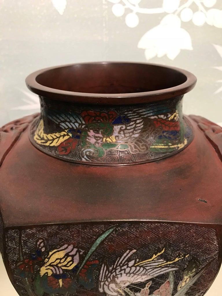 Cloissoné Pair of Japanese Art Nouveau Style Vases For Sale