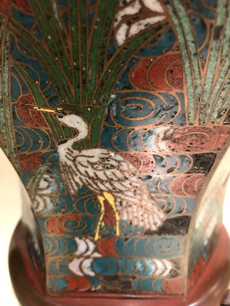 Pair of Japanese Art Nouveau Style Vases In Good Condition For Sale In New York, NY