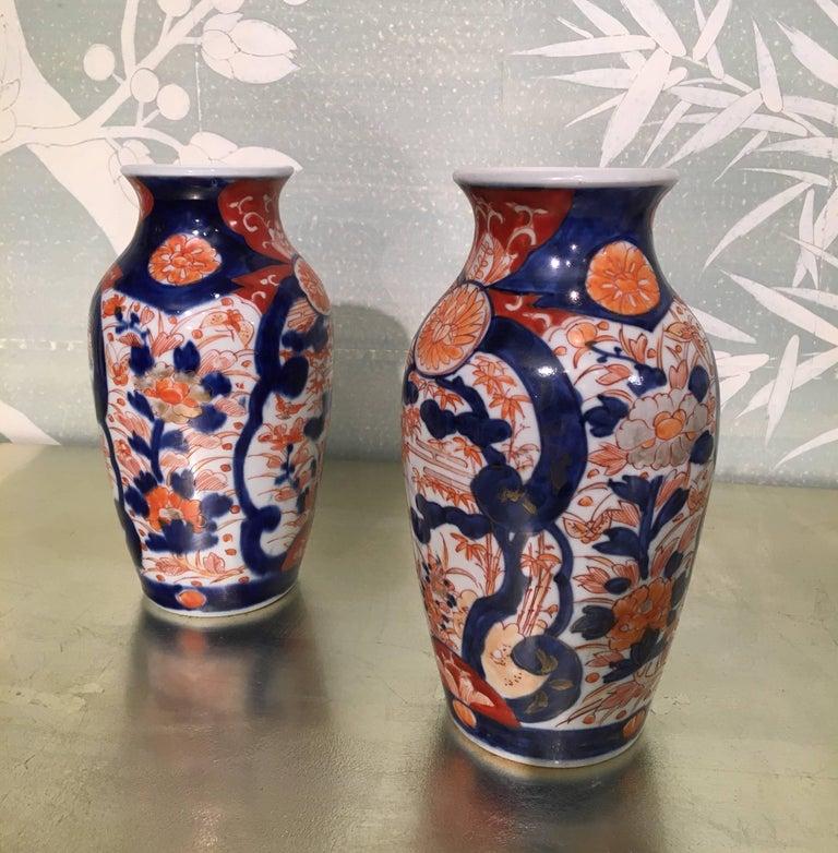 Porcelain Pair of Imari Vases For Sale