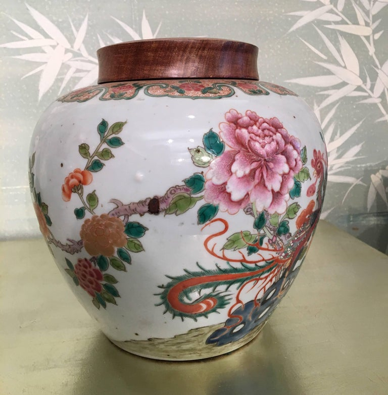 Hand-Painted Pair of 19th Century Chinese Ginger Jars For Sale