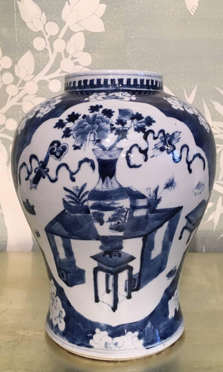 Chinese Blue and White Temple Jar For Sale