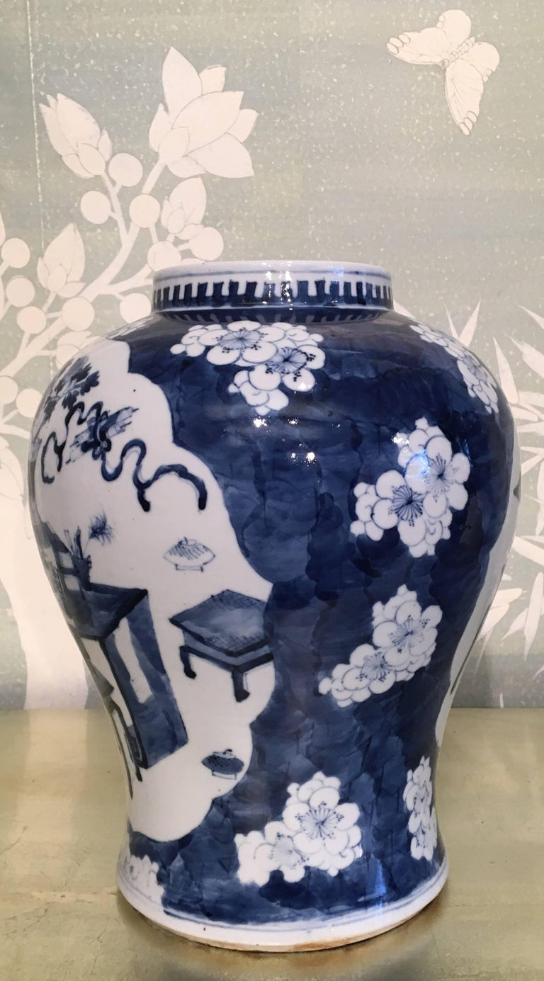 Hand-Painted Blue and White Temple Jar For Sale