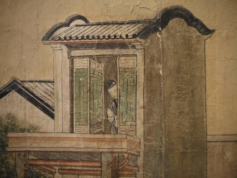 Large 19th Century, Chinese Hand-Painted Landscape Scene In Distressed Condition For Sale In New York, NY