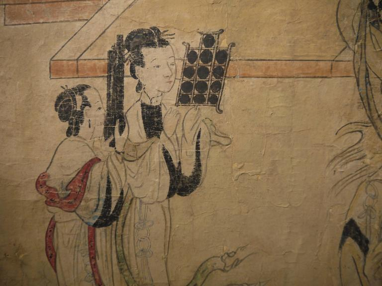 Paper Large 19th Century, Chinese Hand-Painted Landscape Scene For Sale