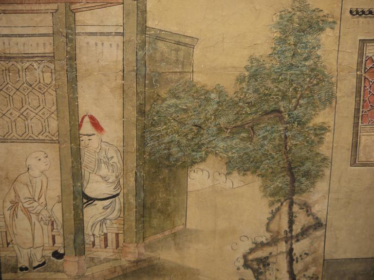 Large 19th Century, Chinese Hand-Painted Landscape Scene For Sale 2