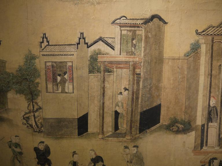 Large 19th Century, Chinese Hand-Painted Landscape Scene For Sale 3