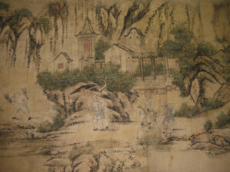 Large 19th Century, Chinese Hand-Painted Landscape Scene For Sale 4
