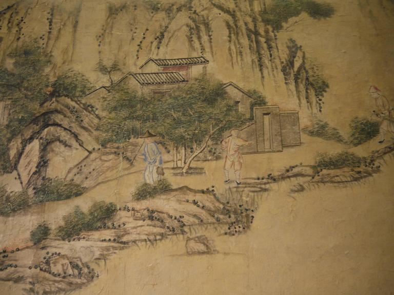 Large 19th Century, Chinese Hand-Painted Landscape Scene For Sale 5
