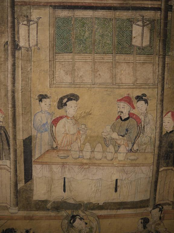 Large 19th Century, Chinese Hand-Painted Landscape Scene For Sale 6