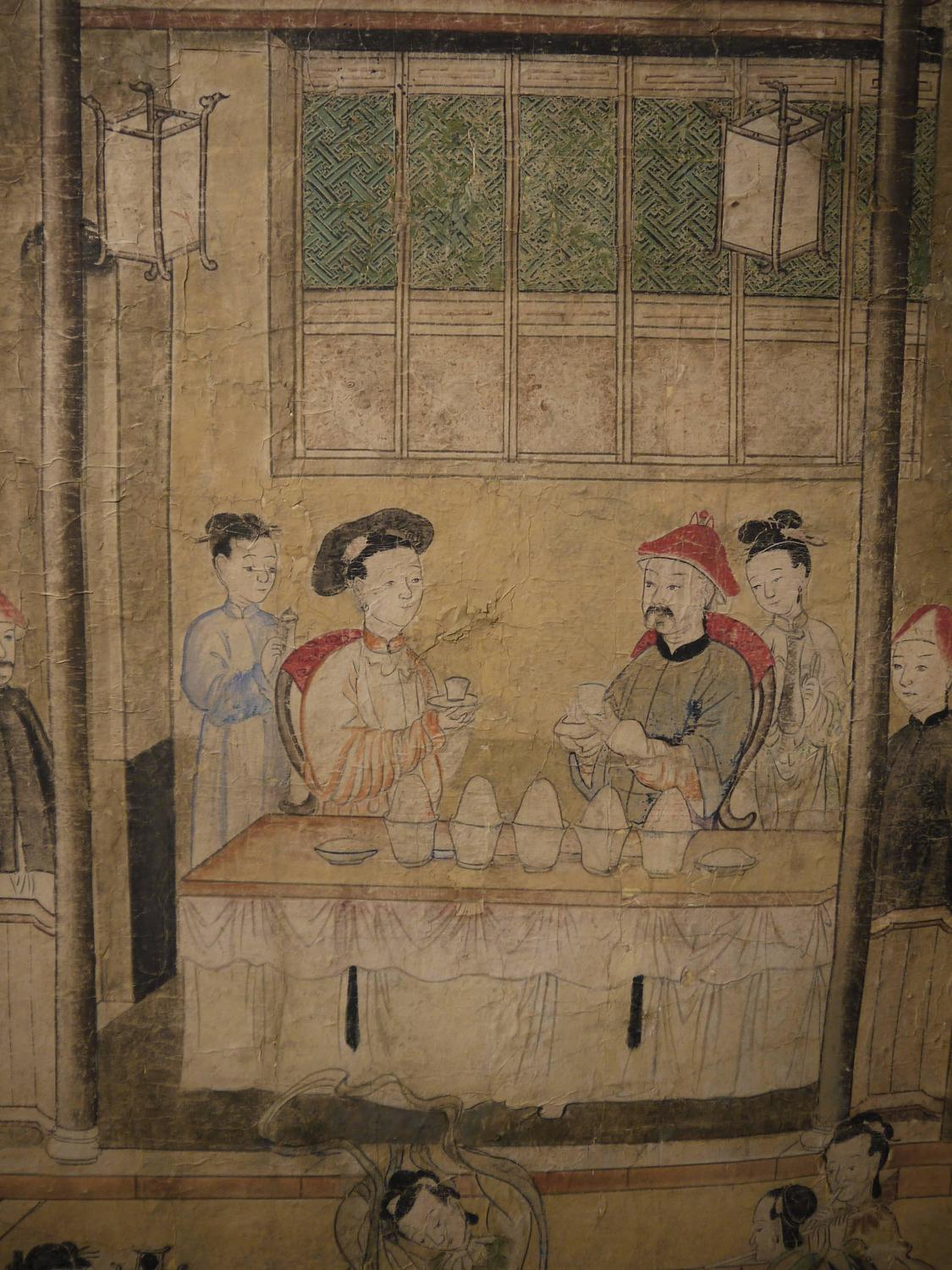 Large 19th Century Chinese Hand Painted Landscape Scene