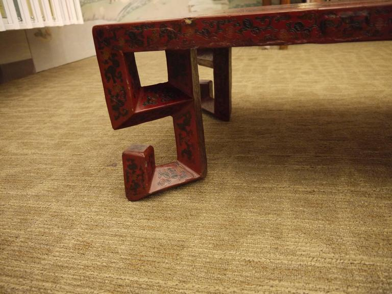 Lacquered Red Chinese Lacquer Table with Geometric Legs For Sale