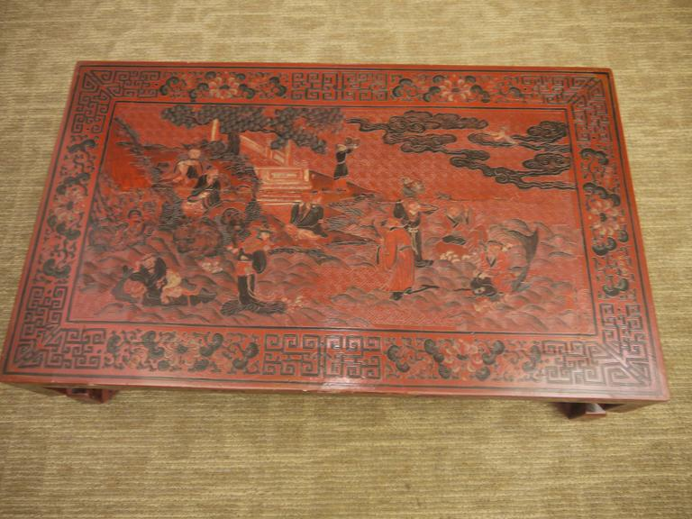 Red Chinese Lacquer Table with Geometric Legs In Good Condition For Sale In New York, NY