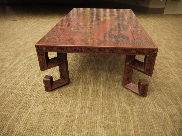 Wood Red Chinese Lacquer Table with Geometric Legs For Sale