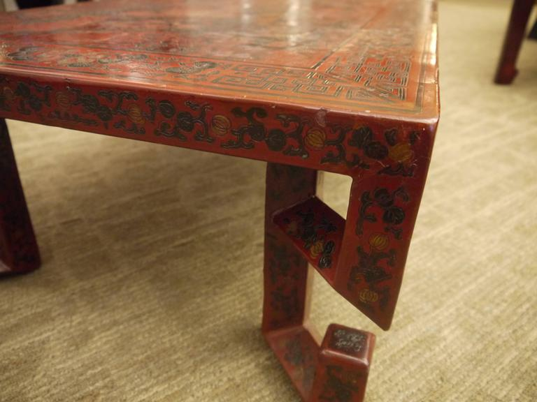 Red Chinese Lacquer Table with Geometric Legs For Sale 1