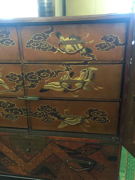 Antique Japanese Marquetry And Lacquer Cabinet On Stand At