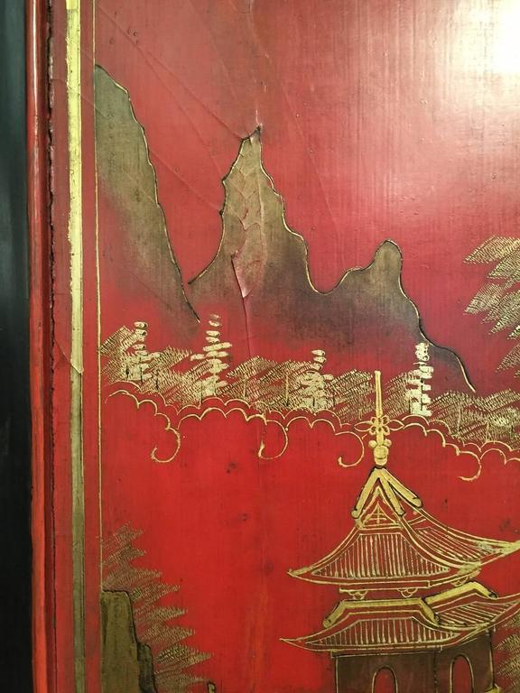 Hand-Painted Massive red Chinese Lacquer Panel with gold landscape and fret For Sale