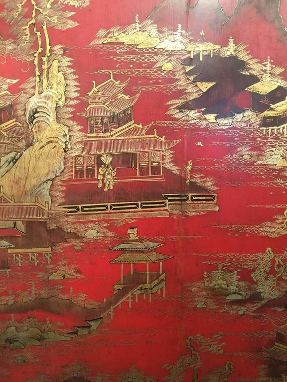 Massive red Chinese Lacquer Panel with gold landscape and fret In Good Condition For Sale In New York, NY