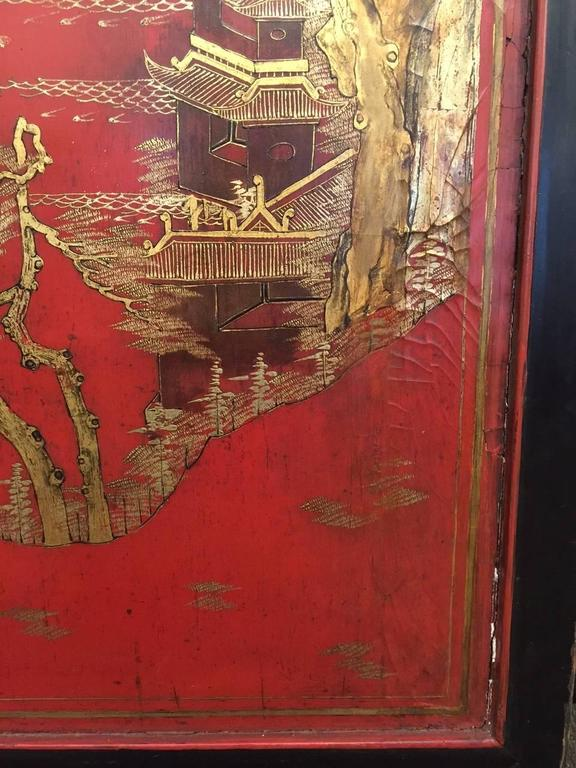 19th Century Massive red Chinese Lacquer Panel with gold landscape and fret For Sale