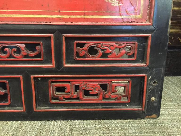 Antique Chinese Red Lacquer Landscape For Sale 1
