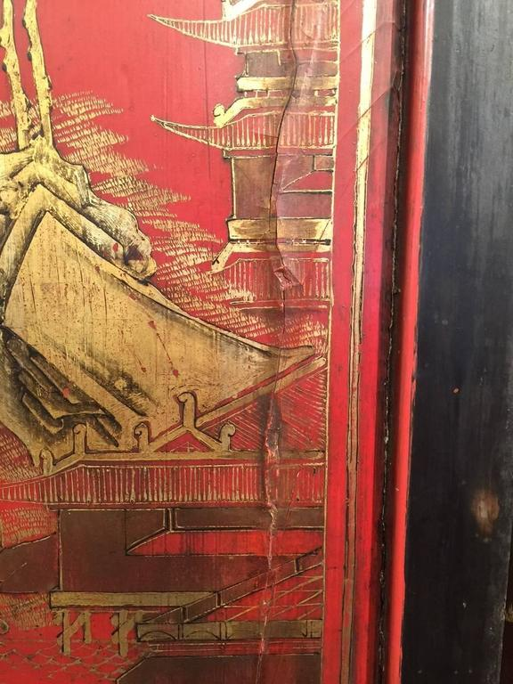 Antique Chinese Red Lacquer Landscape For Sale 3