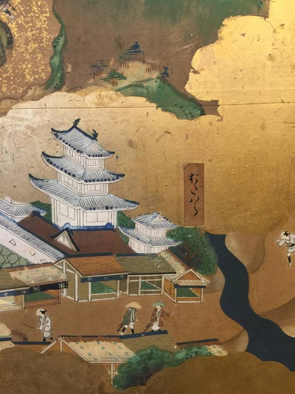 Hand-Painted Late 18th-19th century Japanese Screen, Byobu, Scenes from Kyoto to Tokyo For Sale