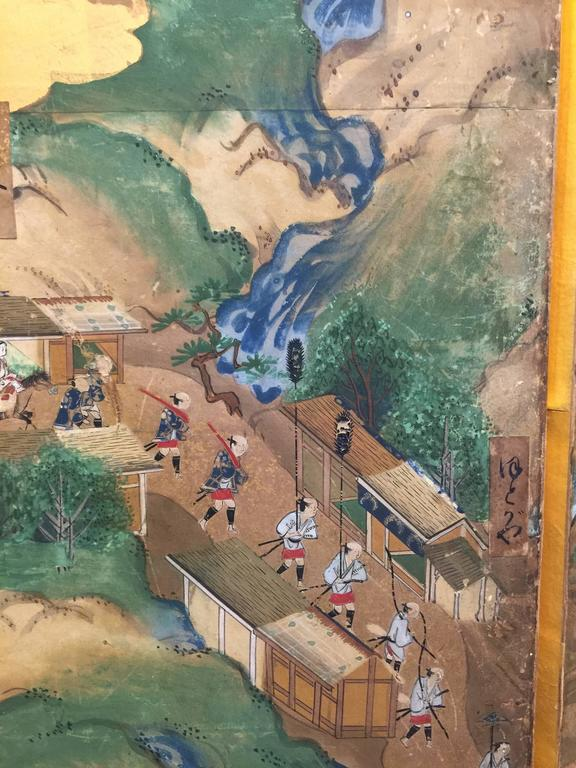 Late 18th-19th century Japanese Screen, Byobu, Scenes from Kyoto to Tokyo In Good Condition For Sale In New York, NY