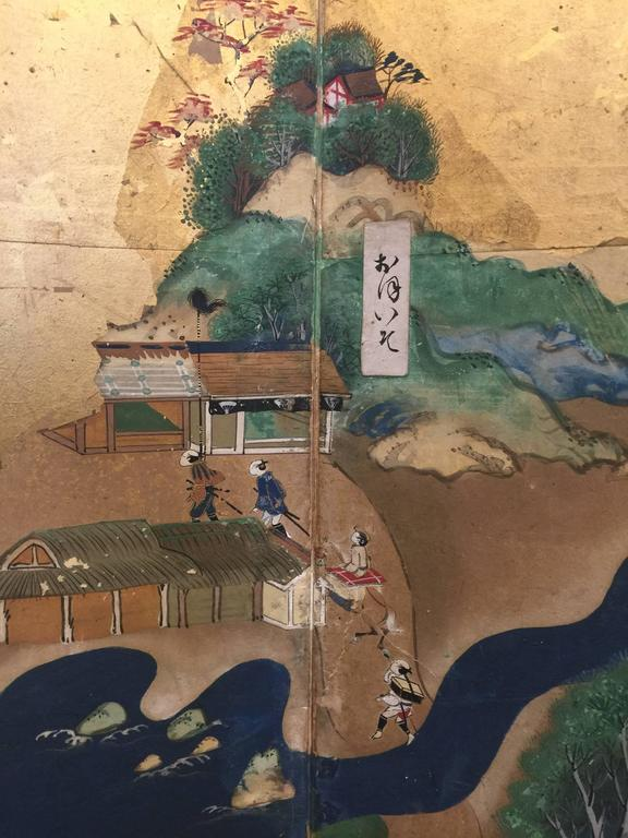 19th Century Late 18th-19th century Japanese Screen, Byobu, Scenes from Kyoto to Tokyo For Sale