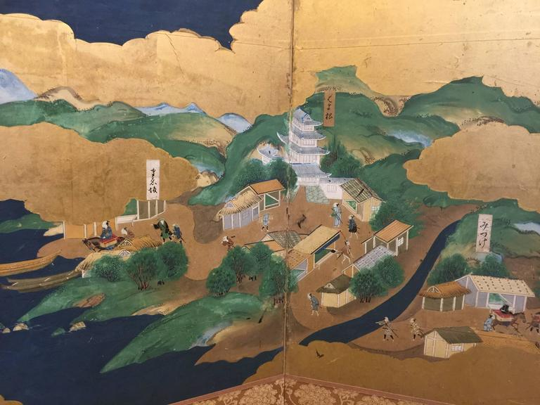 Gold Leaf Late 18th-19th century Japanese Screen, Byobu, Scenes from Kyoto to Tokyo For Sale