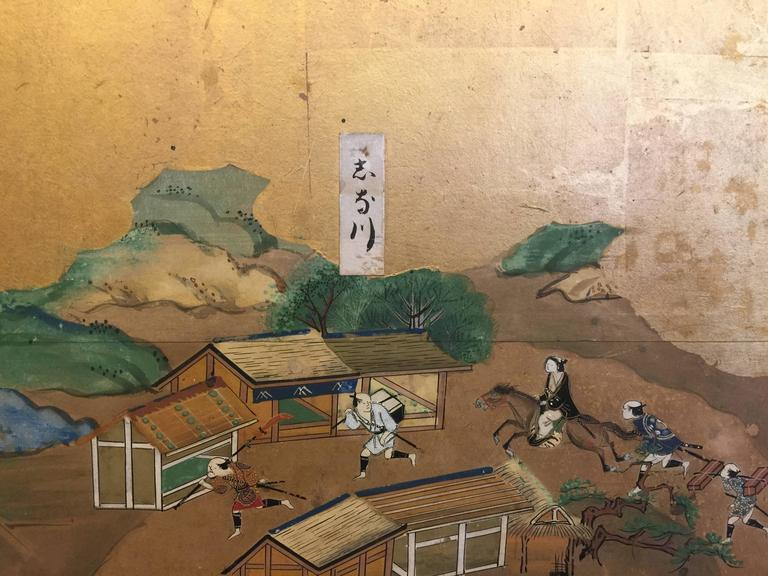 Late 18th-19th century Japanese Screen, Byobu, Scenes from Kyoto to Tokyo For Sale 1