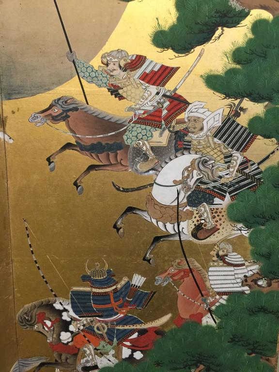 Hand-Painted 18th Century Japanese Battle Screen For Sale
