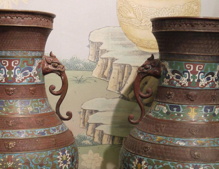 Massive Pair of Champlevé Japanese Vases In Good Condition For Sale In New York, NY